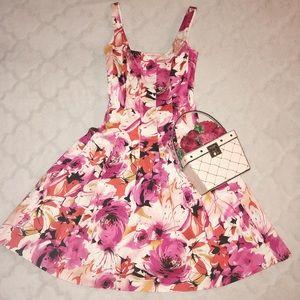 Vintage Pink Floral Cotton Sundress